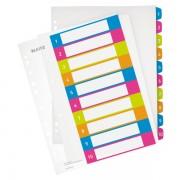 Celoplastové rejstříky 1-10 dělících listů Leitz WOW popisovatelné na počítači A4 Maxi Mix barev