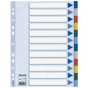 Plastové barevné rozlišovače Esselte, A4 Mix barev