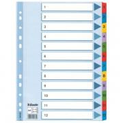Zesílené kartonové rejstříky Esselte Mylar, A4 Mix barev 1-12