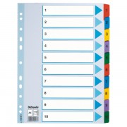 Zesílené kartonové rejstříky Esselte Mylar, A4 Mix barev 1-10